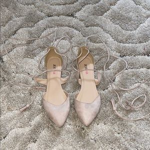 Suede nude lace up pointed toe flats